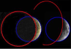 [3] Vergleich zweier Fotos von Mondphasen anhand ihrer Innen- und Außenradien.