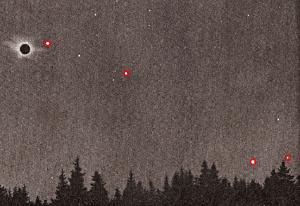 Toltale Sonnenfinsternis mit sichtbaren gewordenen Planeten