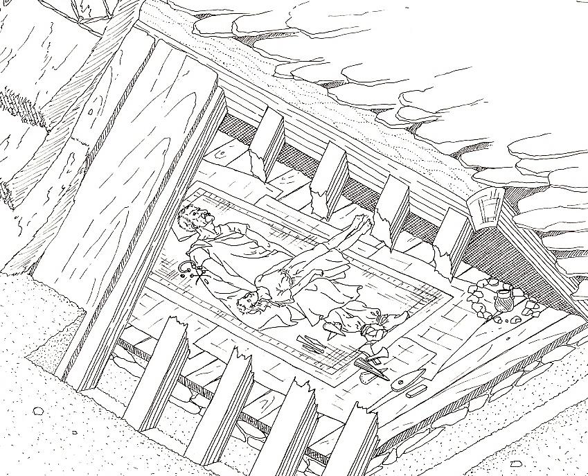 Abb. 1: Die Grabkammer im Leubinger Fürstenhügel