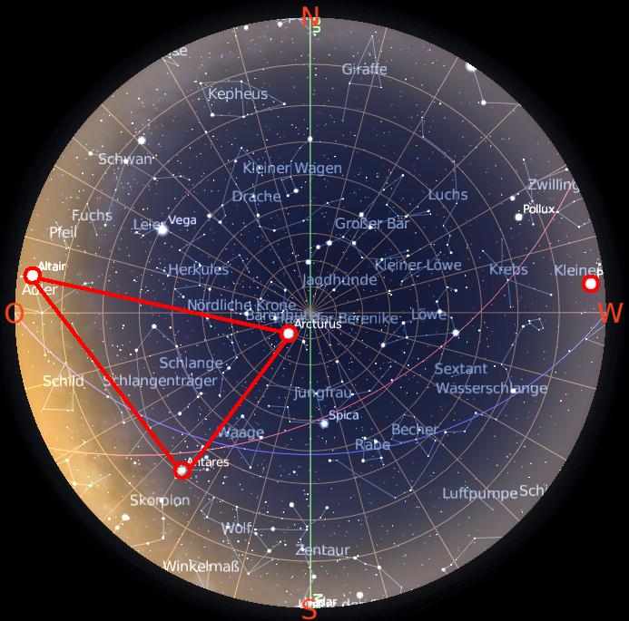 Großes Dreieck mit Procyon