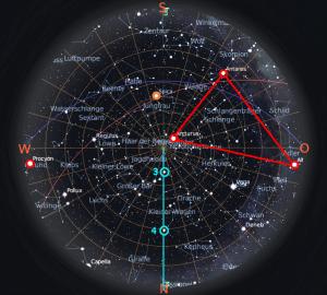 Wenn Zirkumpolarsterne gelichzeitig im Meridian stehen, zeigen Sie als Stenenzeiger den Wahren Norden an oder sie bilden den Stundenzeiger einer Sternenuhr.
