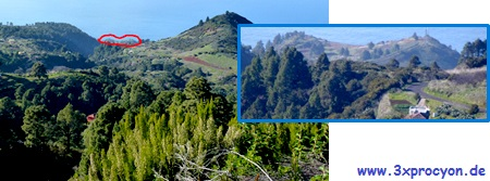 Vista desde la Montaña de Las Indias en dirección al mar donde se vislumbra la doble cima de la Montaña de Fernando Porto.
