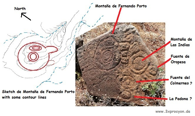 Photo N° 2 The sketch of the rock engraving in a topographic map and a photo of the real carving on the rock.