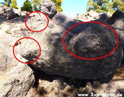 Ein Felsbrocken mit mehreren abgerundeten Vorsprüngen.