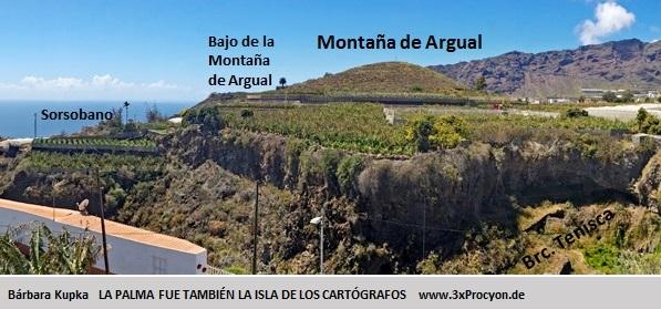 La parte suroeste del volcán se prolonga en una pequeña loma aplanada conocida como Bajo la Montaña de Argual.