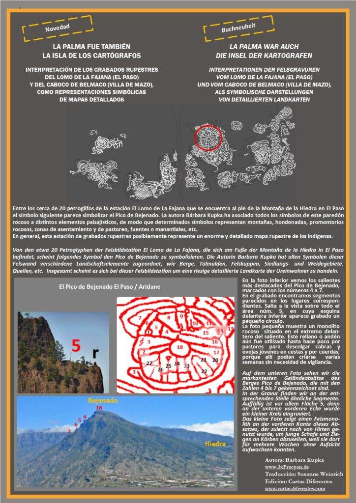 Este petroglifo muestra características asociables a las del Pico de Bejenado, El Paso / La Palma.