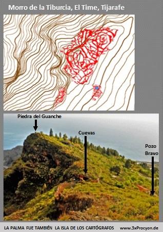 Un petroglifo de la estación La Fajana podría simbolizar el Morro de la Tiburcia, Tijarafe / la Palma.