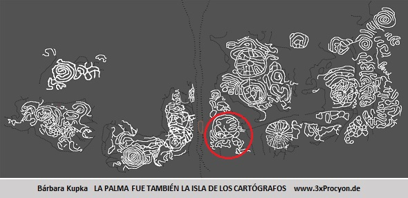 Este petroglifo muestra características asociables a las de la Montaña de Argual, El Paso / La Palma.