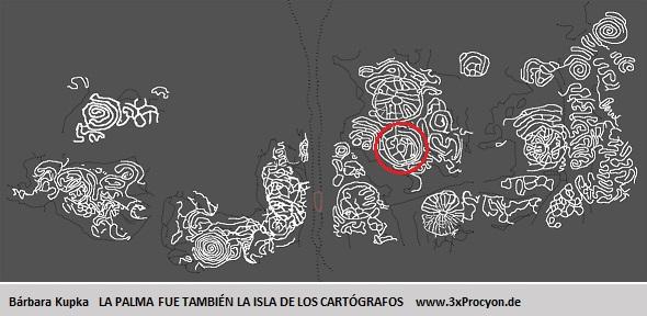 Este petroglifo muestra características asociables a las de la Montaña de la Hiedra, El Paso / La Palma.